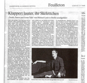 Death, Dance and Some Talk / Frankfurter Allgemeine Zeitung